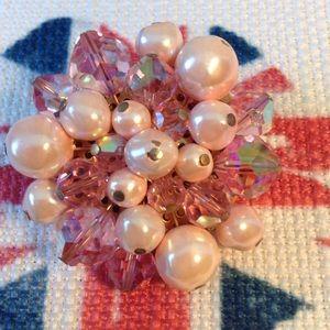 Vintage Pink Pearl & Crystal Pin/Brooch